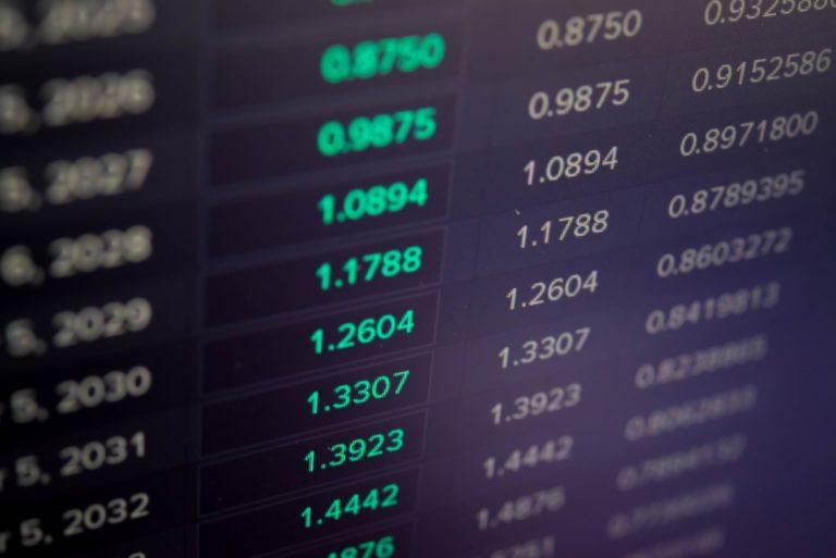 Financial data on LED display