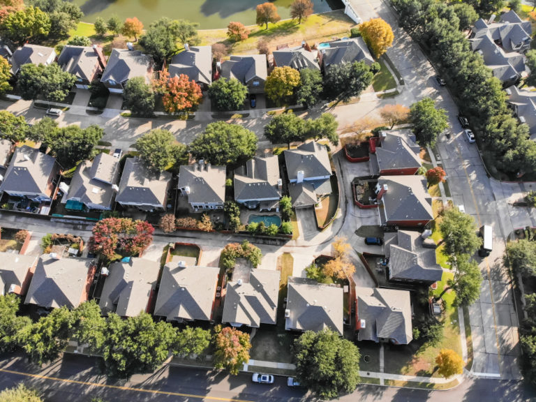 Bird's eye view of subdivision