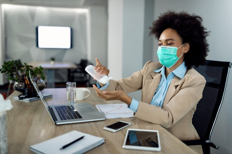 wearing face mask in the office